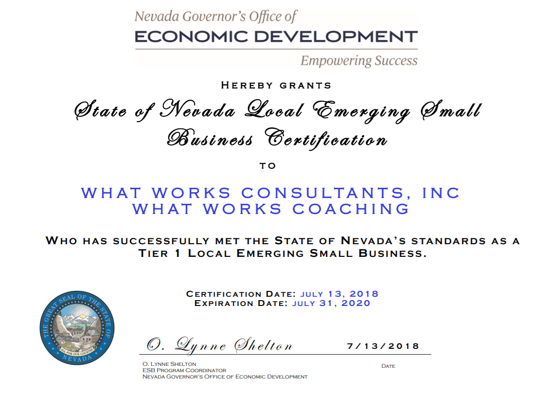 What Works Consultants, Inc is a Nevada Emerging Small Business